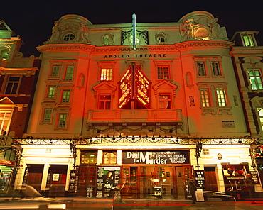 Exterior of the Apollo Theatre illuminated at night, Shaftesbury Avenue, London, England, United Kingdom, Europe