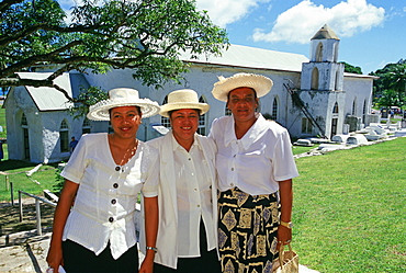 Women at church, Aitutaki, Cook Islands
