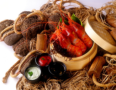 Prawns in basket, Hawaii, United States of America, Pacific