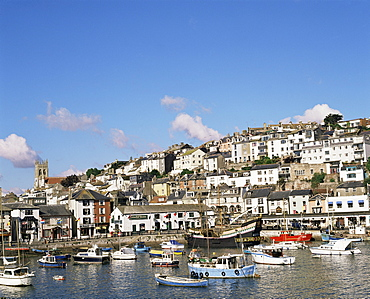 The Golden Hind and other boats in the harbour, Brixham, Devon, England, United Kingdom, Europe