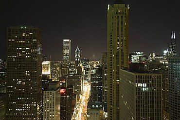 Night shot of the Magnificent Mile taken from the Hancock Building, Chicago, Illinois, United States of America, North America
