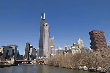 Sears Tower taken on South Chicago River, Chicago, Illinois, United States of America, North America