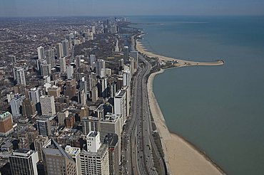 View from the Hancock Building, Chicago, Illinois, United States of America, North America