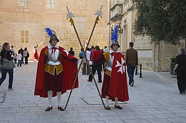 Guards in Medieval costume in Mdina the fortress city, Malta, Europe
