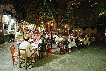 Taverna in Skopelos Town at night, Skopelos, Sporades Islands, Greek Islands, Greece, Europe