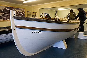 Replica of boat Shackleton used to cross from Elephant Island to South Georgia, in museum at Grytviken, South Georgia, South Atlantic