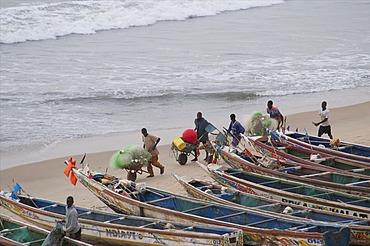 Bakau fish market, Bakau, near Banjul, Gambia, West Africa, Africa