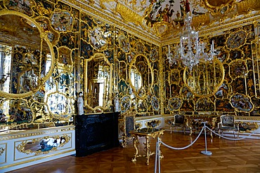 The mirror cabinet room in the Residence Palace, UNESCO World Heritage Site, Wurzburg, Bavaria, Germany, Europe
