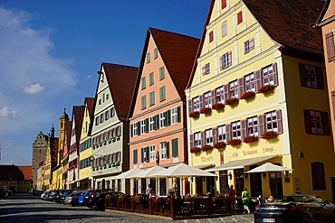 Colourful houses in the area known as Weinmarkt, Dinkelsbuhl, Romantic Road, Franconia, Bavaria, Germany, Europe