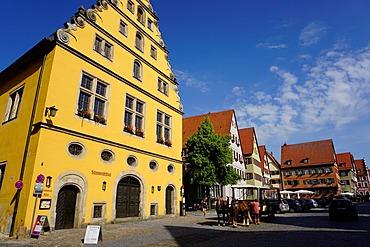 Houses in Weinmarkt, Dinkelsbuhl, Romantic Road, Franconia, Bavaria, Germany, Europe