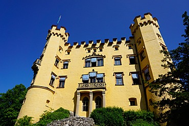 Schloss Hohenschwangau, the former palace of Ludwig the Second, at Hohenschwangau village, near Fussen, Bavaria, Germany, Europe