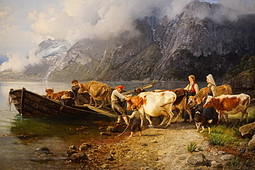 Fjord landscape with cattle by Anders Askevold, KODE 3 Art Museum, Bergen, Hordaland, Norway, Scandinavia, Europe