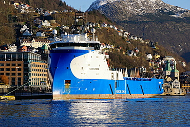 View on the harbour Bergen with oil industry support ship, Hordaland, Norway, Scandinavia, Europe