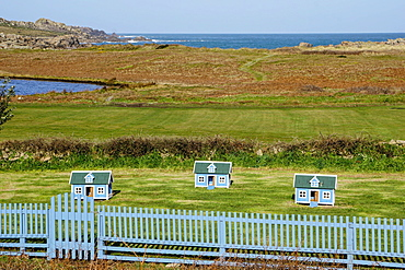 Chicken houses at Hell Bay Hotel, Bryher, Isles of Scilly, England, United Kingdom, Europe