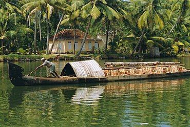 Barge on waterway, the Backwaters, Kerala, India