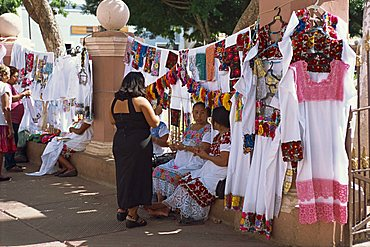 Embroidered blouses (buipiles) for sale, Valladolid, Yucatan, Mexico, North America
