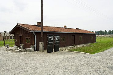 Selection shed where prisoners were unloaded and separated into able bodied men, kept for work, and woman and children who were taken to gas chambers, Auschwitz second concentration camp at Birkenau, UNESCO World Heritage Site, near Krakow (Cracow), Polan