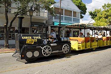 Tourist train, Duval Street, Key West, Florida, United States of America, North America