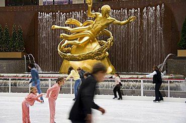 Ice rink at Rockefeller Center, Mid town Manhattan, New York City, New York, United States of America, North America