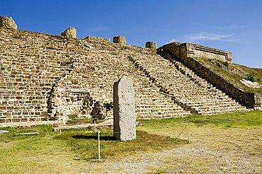 A stela at the ancient Zapotec city of Monte Alban, UNESCO World Heritage Site, near Oaxaca City, Oaxaca, Mexico, North America