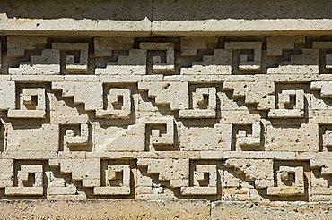 Fantastic geometric stone carving, Mitla, ancient Mixtec site, Oaxaca, Mexico, North America