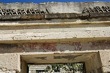 Old mural painting, Mitla, ancient Mixtec site, Oaxaca, Mexico, North America