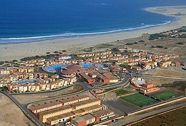 Hotel complex from air, Boa Vista, Cape Verde Islands, Atlantic, Africa