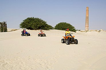 Tourists on quad motorbikes, Praia de Chaves (Chaves Beach), Boa Vista, Cape Verde Islands, Africa