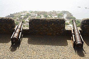 Overlooking Cidade Velha from the Fortress of Sao Filipe, Santiago, Cape Verde Islands, Africa