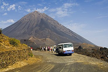 Tourists and the volcano of Pico de Fogo in the background, Fogo (Fire), Cape Verde Islands, Africa