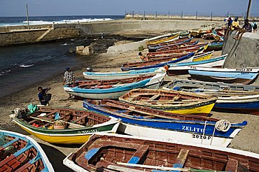Fishing boats at the port of Ponto do Sol, Ribiera Grande, Santo Antao, Cape Verde Islands, Atlantic, Africa