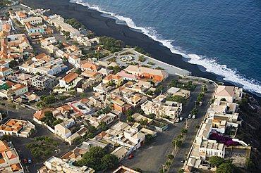 Sao Filipe from the air, Fogo (Fire), Cape Verde Islands, Atlantic Ocean, Africa