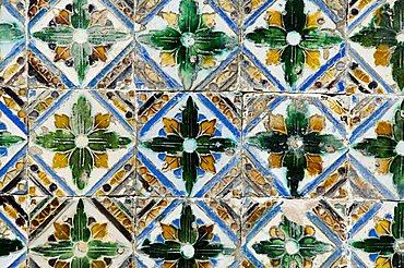Azulejos tiles in the Mudejar style, Casa de Pilatos, Santa Cruz district, Seville, Andalusia, Spain, Europe