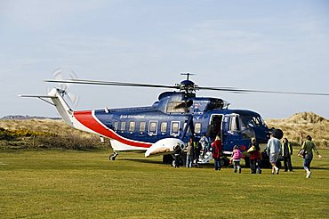 Helicopter from Penzance, Tresco, Isles of Scilly, off Cornwall, United Kingdom, Europe