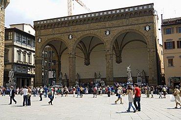 Loggia dei Lanzi, on the Piazza della Signoria, Florence (Firenze), Tuscany, Italy. Europe