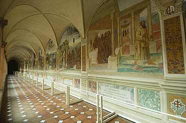 Benedictine Monastery famous for frescoes in cloisters depicting the life of St. Benedict, Monte Oliveto Maggiore, Tuscany, Italy, Europe