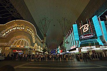 Fremont Street, the older part of Las Vegas, at night, Las Vegas, Nevada, United States of America, North America