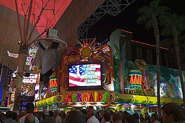 Fremont Street, the older part of Las Vegas at night, Las Vegas, Nevada, United States of America, North America