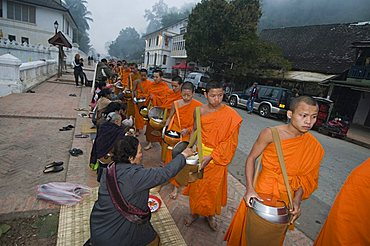 Buddhist monks collecting alms in the early morning, Luang Prabang, Laos, Indochina, Southeast Asia, Asia