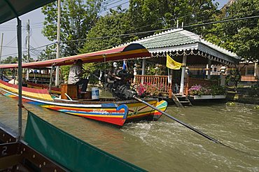 Long tail boat on canal, Bangkok, Thailand, Southeast Asia, Asia