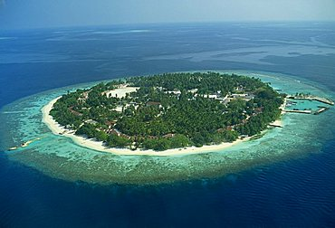 Aerial view of a tropical island in the Maldive Islands, Indian Ocean, Asia