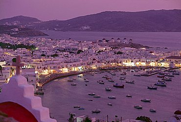 View over Mykonos town, illuminated at night, island of Mykonos (Mikonos), Cyclades, Greek Islands, Greece, Europe
