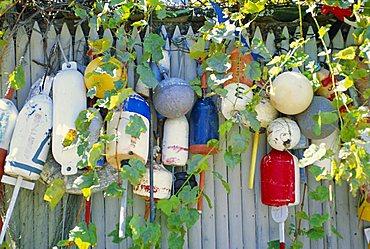 Fishing net floats, Oak Bluffs, Martha's Vineyard, Massachusetts, USA
