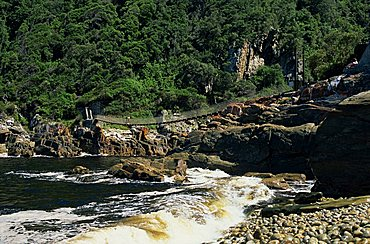 Bridge over Storms River mouth in the Tsitsikamma National Park on the Garden Route in South Africa, Africa