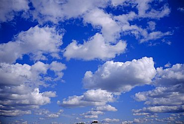 Blue sky and puffy white clouds