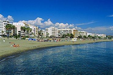 Seafront and beach, Estepona, Costa Del Sol, Andalucia, Spain