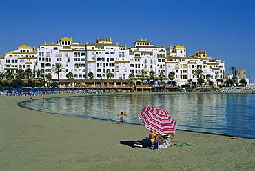 Beach at Puerto Banus near Marbella, Costa Del Sol, Andalucia, Spain