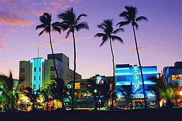 Ocean Drive sunset, South Beach, Miami Beach, Florida, USA