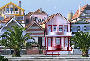 Exteriors of painted houses on a street in Costa Nova on the Beira Litoral in Portugal, Europe