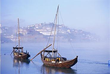 Port barge on the Douro River, Porto (Oporto), Portugal, Europe
